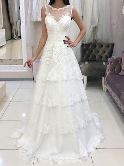 Tiered Appliques Scoop Neck Hall Wedding Dress 2019