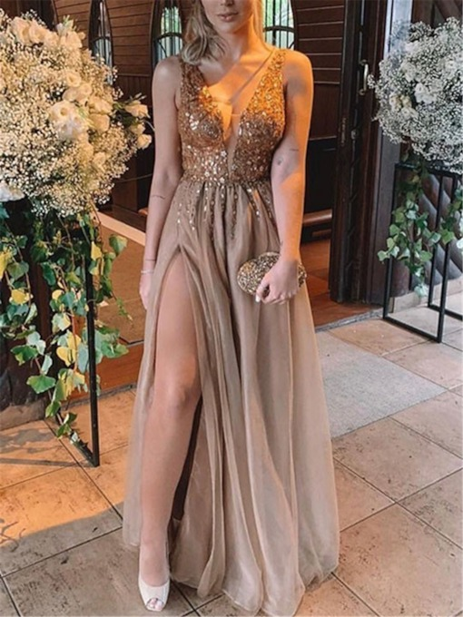 Split-Front V-Neck Sequins Beading Prom Dress