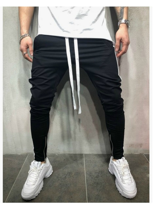 Color Block Pencil Patchwork Lace-Up Men's Casual Pants