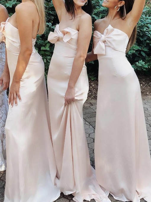 Sheath Strapless Bowknot Bridesmaid Dress 2019