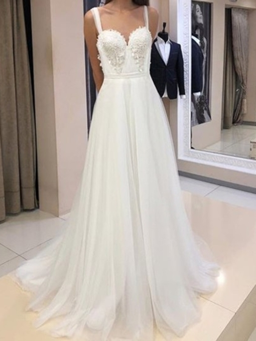 Straps A-Line Appliques Wedding Dress 2019