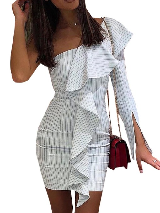 Oblique Collar Split Long Sleeve Stripe Women's Bodycon Dress
