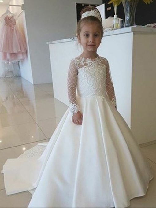 Long Sleeves Lace Flower Girl Dress 2019