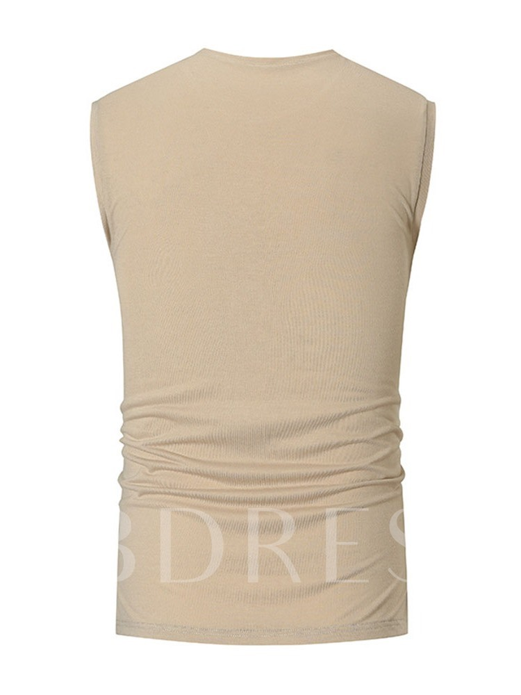 Plain Slim Round Neck Summer Men's Vest
