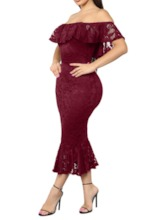 Off Shoulder Hollow Short Sleeve Floral Women's Maxi Dress
