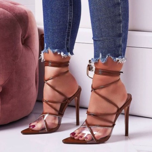 Stiletto Heel Strappy Open Toe Lace-Up Unique Sandals