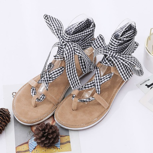 Block Heel Lace-Up Strappy Thong Women's Sandals