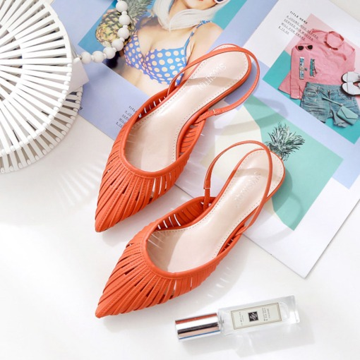 Slingback Strap Elastic Band Closed Toe Flat Hollow Sandals