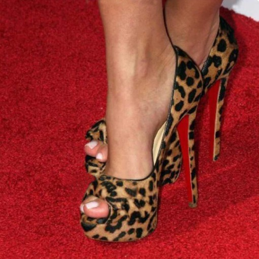 Peep Toe Slip-On Stiletto Heel Leopard Print Sexy Pumps