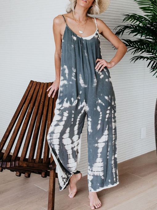 Strap Color Block Full Length Western Loose Women's Jumpsuit