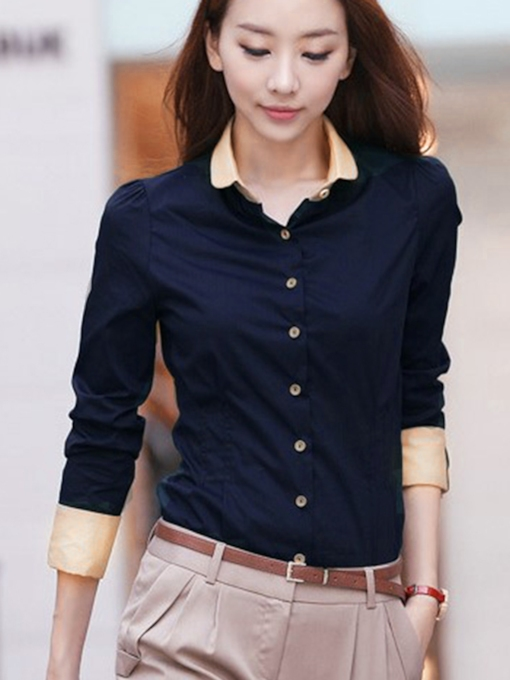 Plain Color Block Button Up Women's Shirt