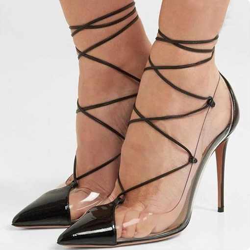 Lace-Up Pointed Toe Stiletto Heel Sexy Women's Sandals