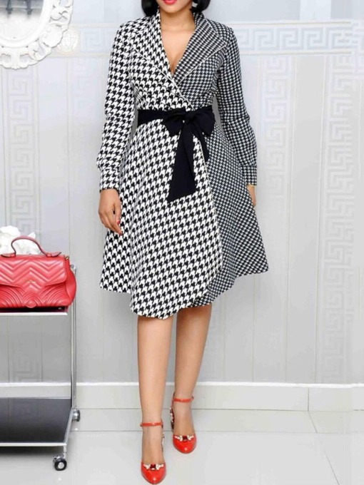 Lace-Up Long Sleeve Notched Lapel Regular Women's Day Dress
