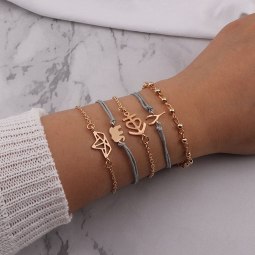 4 Pcs/ Set Classic Pattern Rope Bracelet for Women