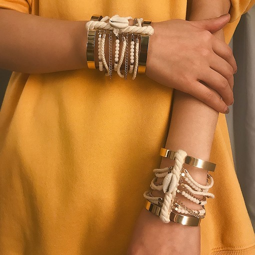 Hollow Out Alloy Wide Rope Bangle