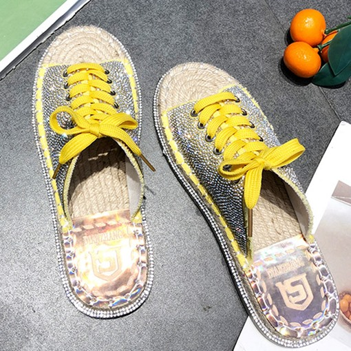 Flat Rhinestone Lace-Up Korean Women's Slippers