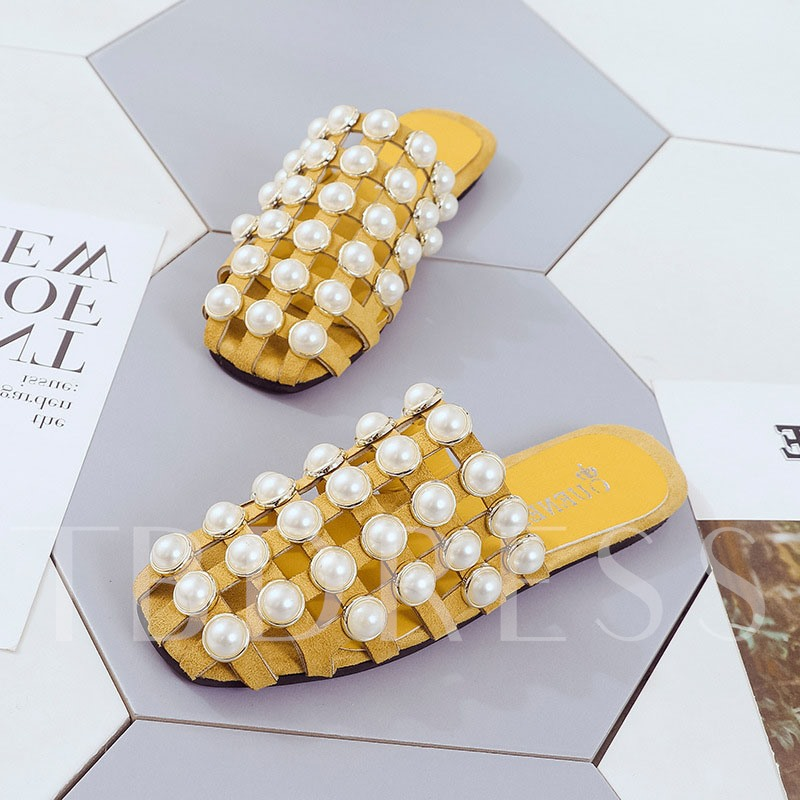 Beads Closed Toe Slip-On Block Heel Summer Slippers