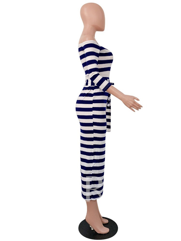 Off Shoulder Print Three-Quarter Sleeve Stripe Women's Maxi Dress