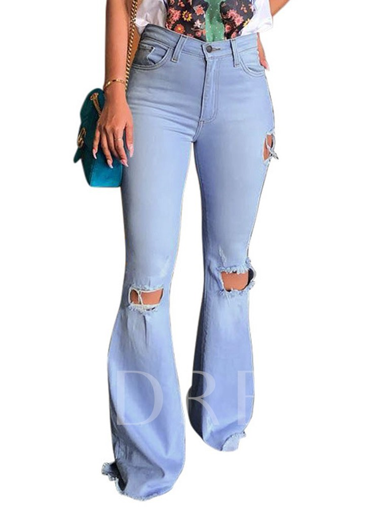 Bellbottoms Zipper Plain Slim Women's Jeans