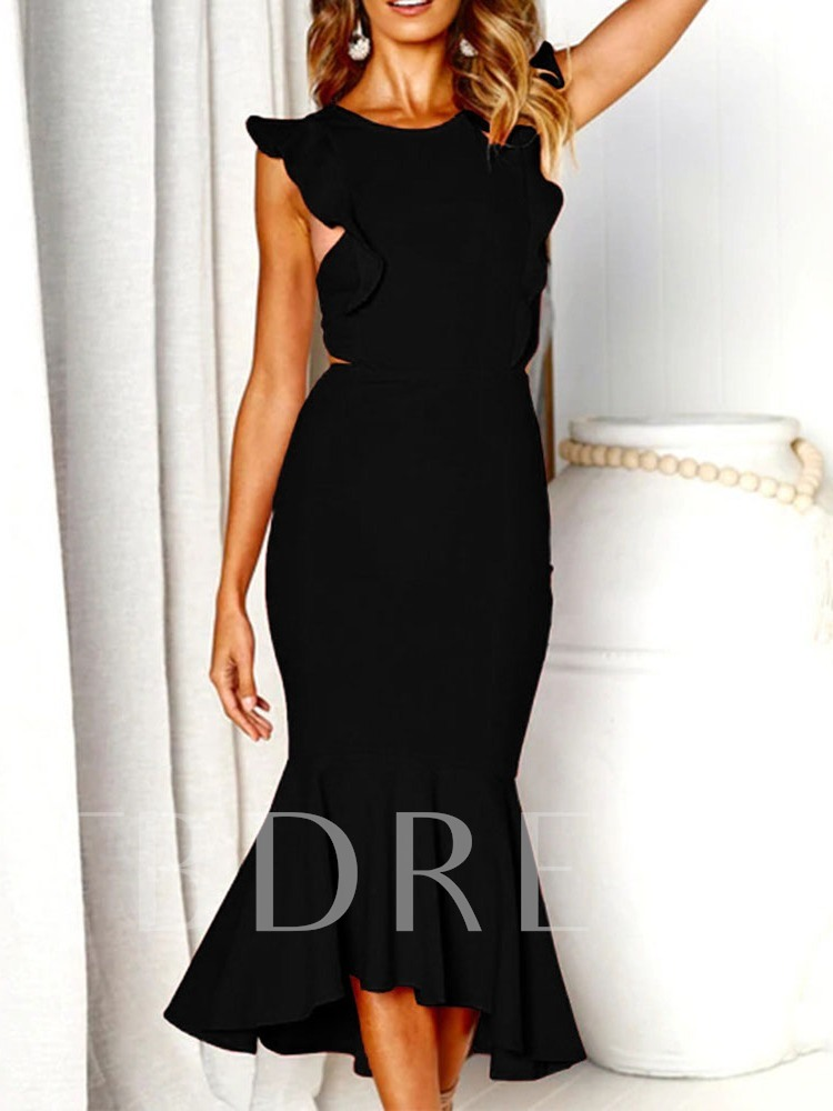 Mid-Calf Cap Sleeve Round Neck Backless Pullover Women's Maxi Dress