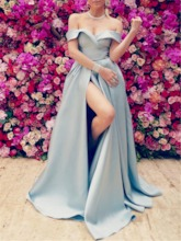 Sweep Train Cap Sleeves Off-The-Shoulder A-Line Evening Dress 2019