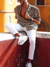 New Fashion Leopard Print Male Loose Sexy Casual Turn Down Neck Blouse Short Sleeve Shirts