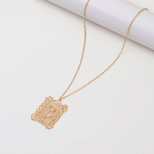 Carved Pendant Ladies Gold Color Chain Necklace