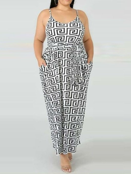 Plus Size Print Sleeveless Pullover Women's Maxi Dress