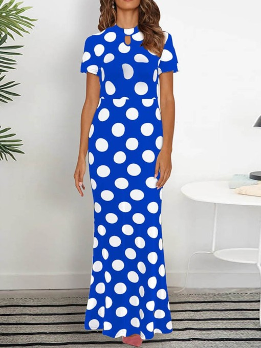 Hollow Round Neck Short Sleeve Bodycon Women's Maxi Dress