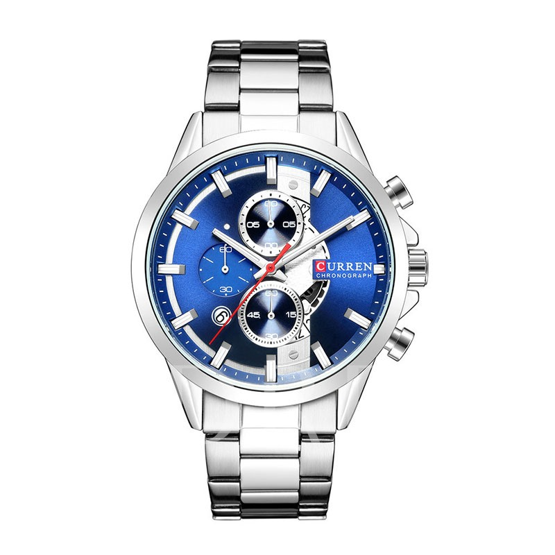 Round Glass Water Resistant Stainless Steel Men's Watch