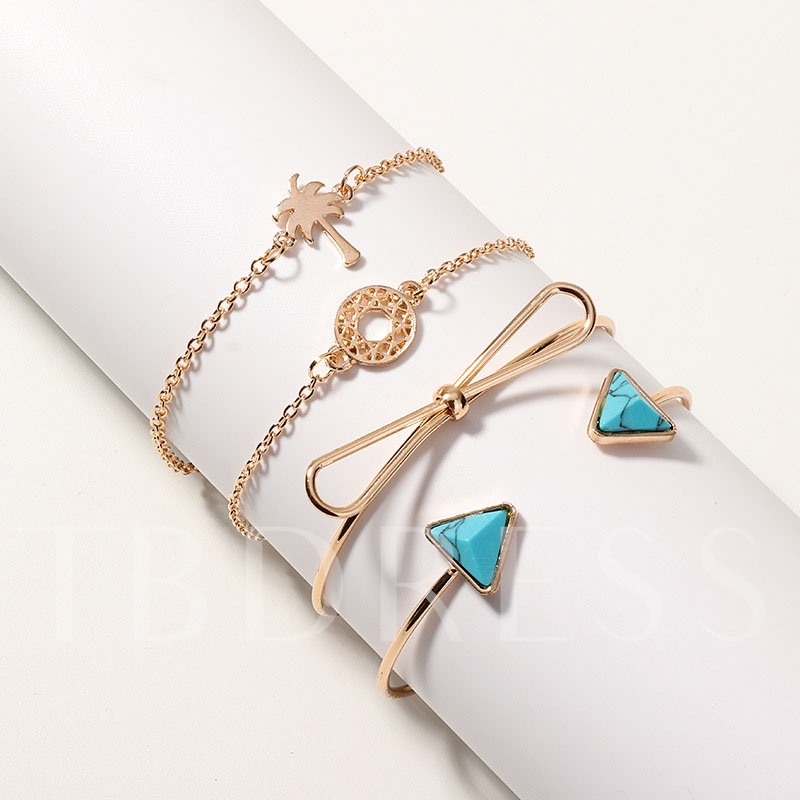 4pcs/Set Bohemia Turquoise Knot Bracelet for Women