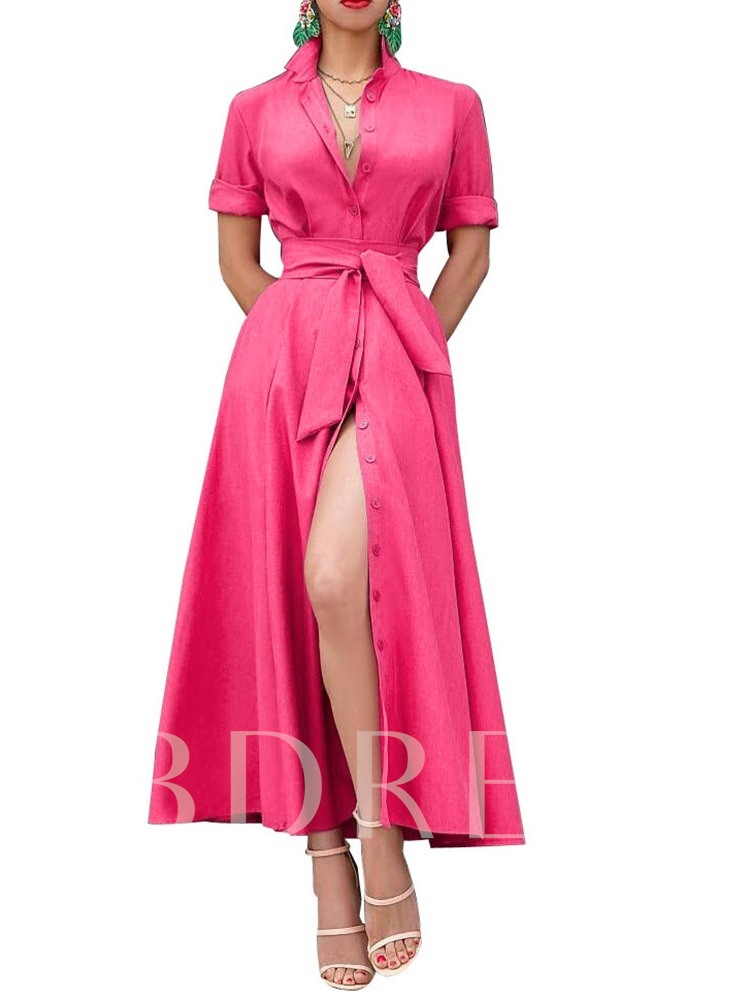 Ankle-Length Lapel Split Short Sleeve Women's Maxi Dress