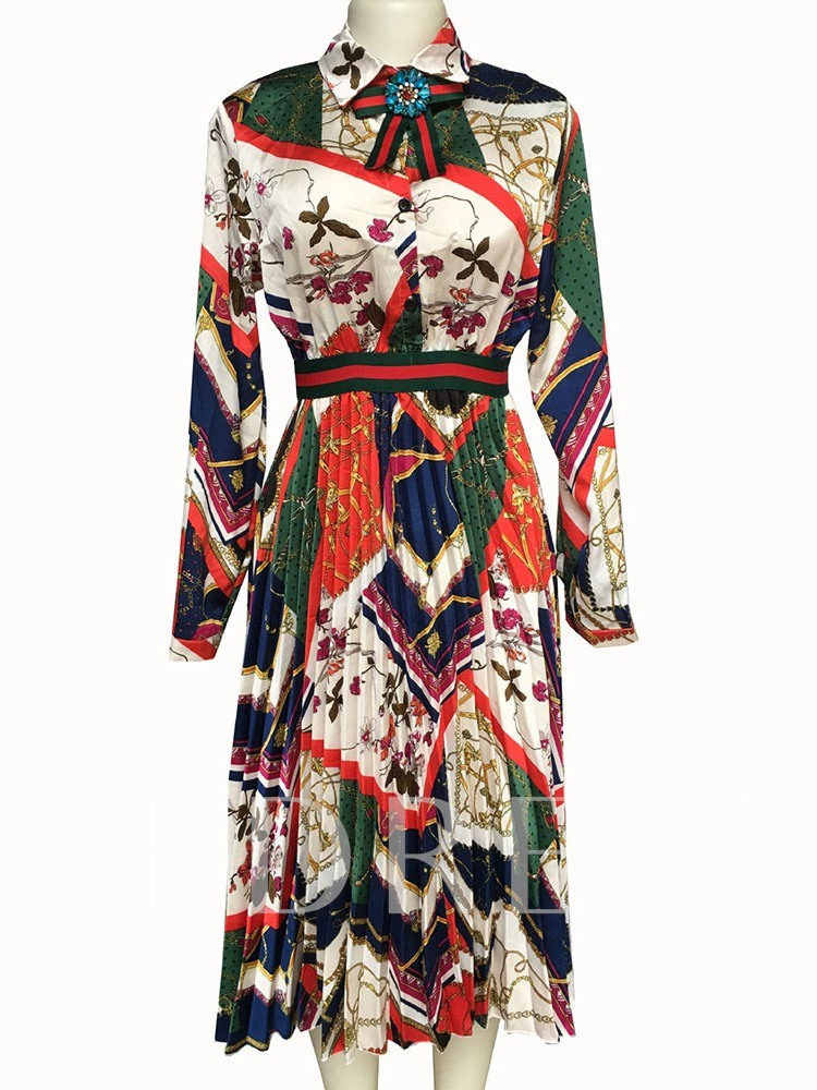 Lapel Long Sleeve Print Mid-Calf Mid Waist Women's Maxi Dress