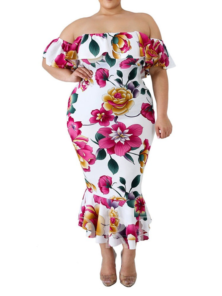 Plus Size Falbala Off Shoulder Mermaid Women's Maxi Dress