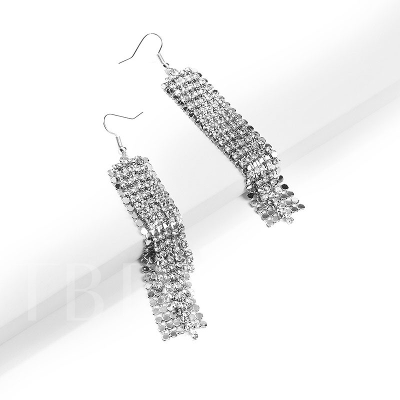 Shiny Silver Plated Long Tassel Drop Earrings For Women