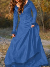 Plain Long Sleeve Pullover Women's Maxi Dress