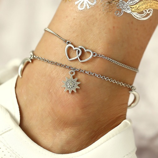 Vintage Multiple Layers Sun Pendant Anklets for Women