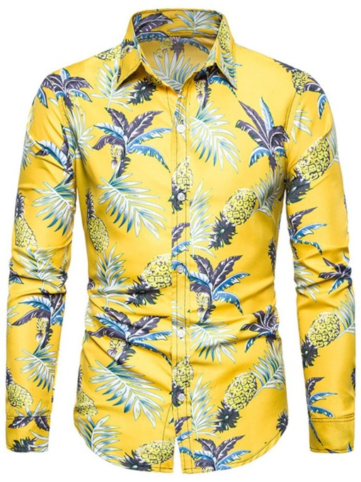 Casual Plant Print Lapel Floral Single-Breasted Long Sleeves Slim Fit Men's Shirt