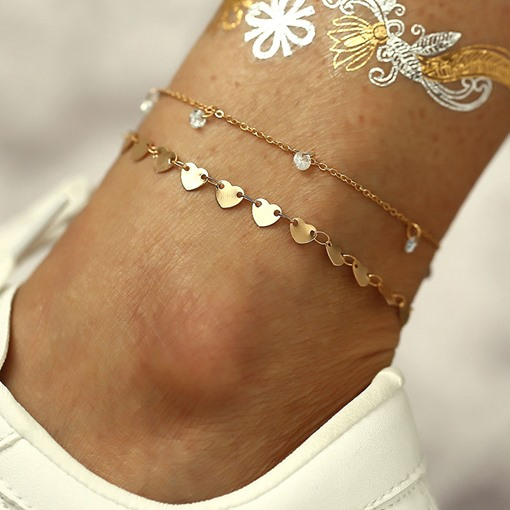 Heart Pendant Golden Anklets Barefoot Sandals For Women