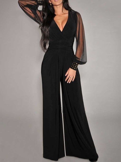 Full Length Western Plain Patchwork Wide Legs Women's Jumpsuit