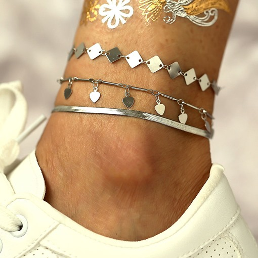 3 Pcs Alloy Vintage Anklet for Women