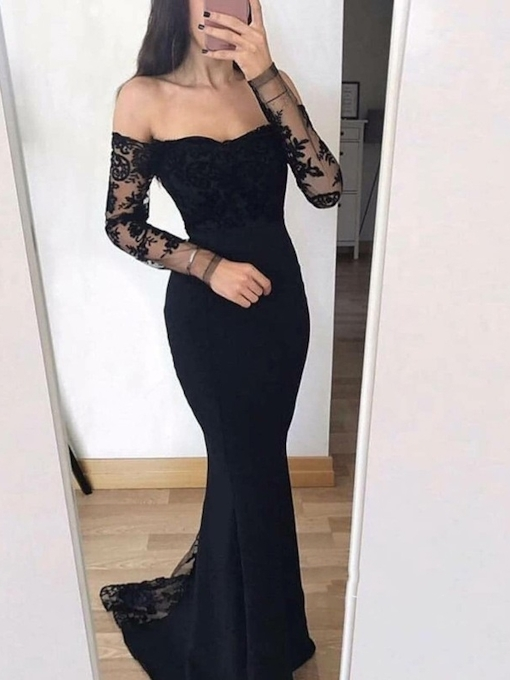 Off-The-Shoulder Trumpet Long Sleeves Sweep Train Evening Dress 2019