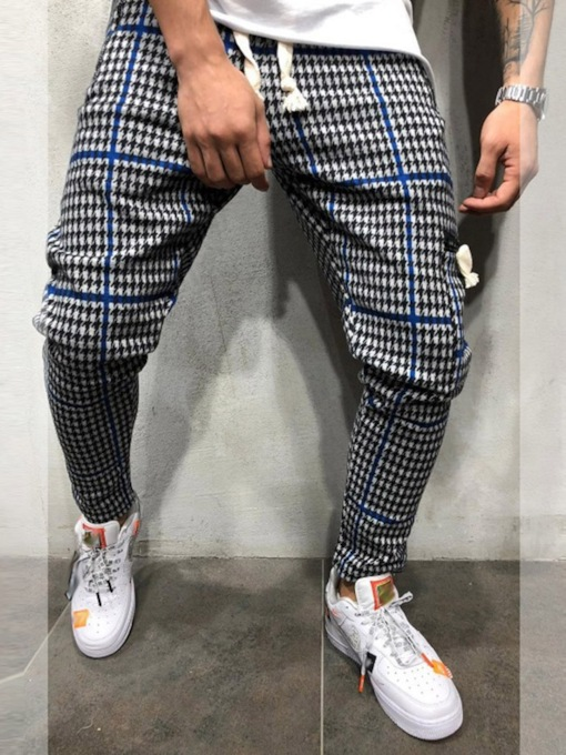 Zipper Thin Color Block Pencil Pants Mid Waist Men's Casual Pants