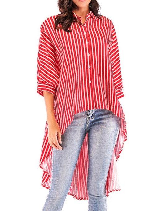 Stripe Asymmetric Batwing Sleeve Lapel Long Women's Blouse