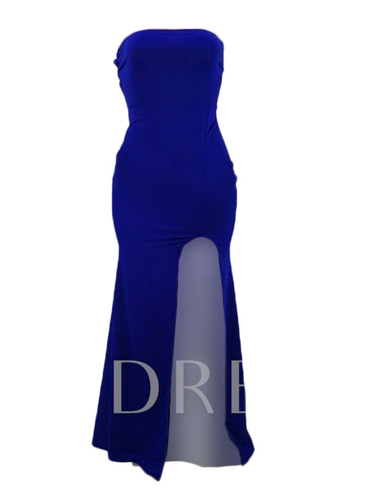 Floor-Length Sleeveless Backless Plain Women's Maxi Dress