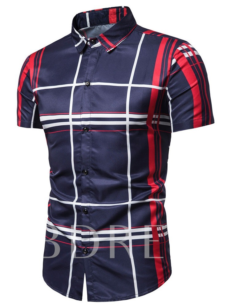 Lapel Button Casual Stripe Slim Men's Shirt