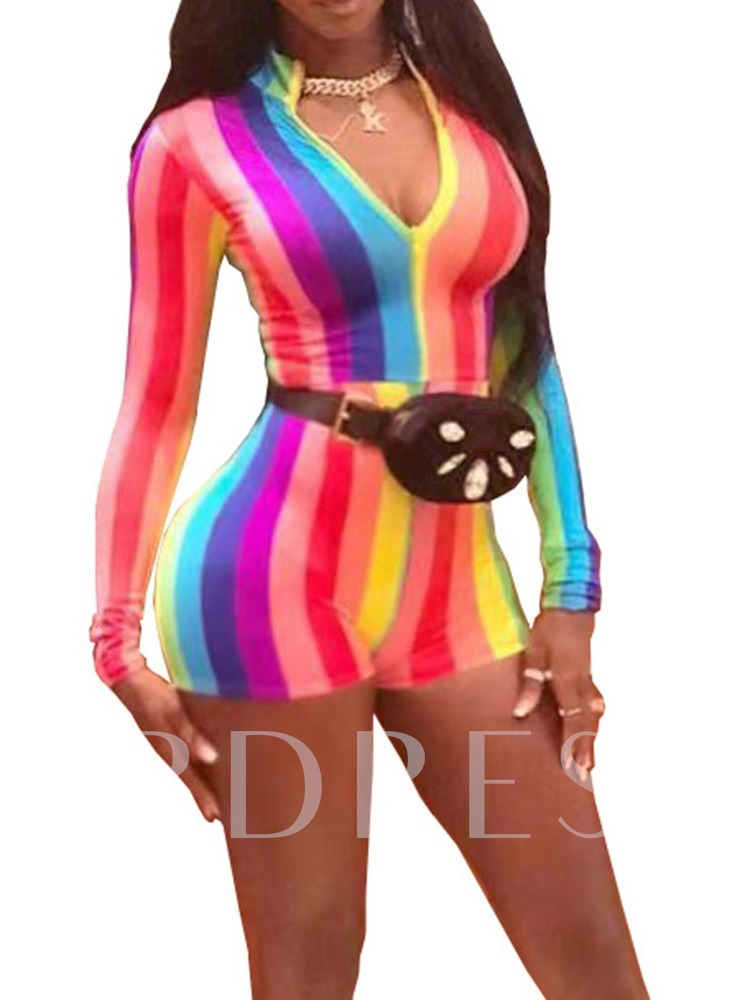 Office Lady Shorts Color Block Skinny Women's Rompers
