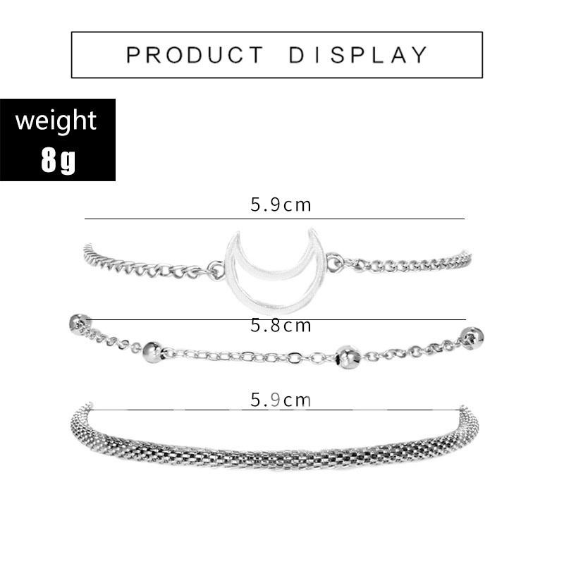 Simple Style Silver Plated Layered Charm Bracelet