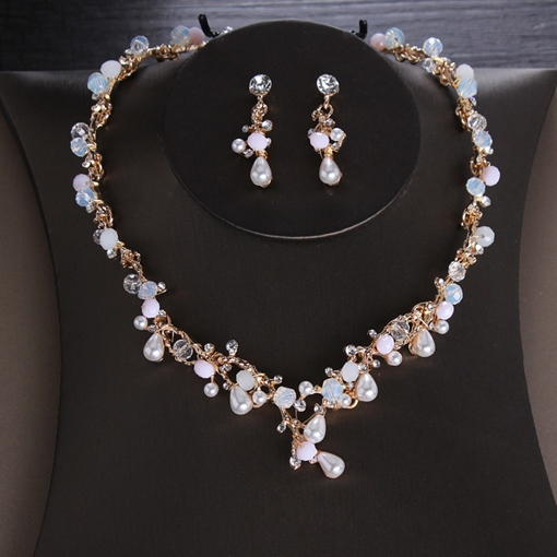 E-Plating Korean Floral Wedding Jewelry Set