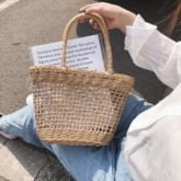 Casual Knitted Plain Square Straw Bags